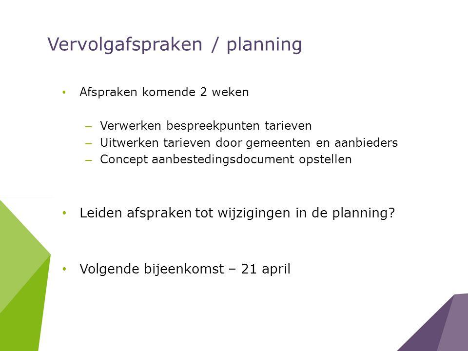 Vervolgafspraken / planning