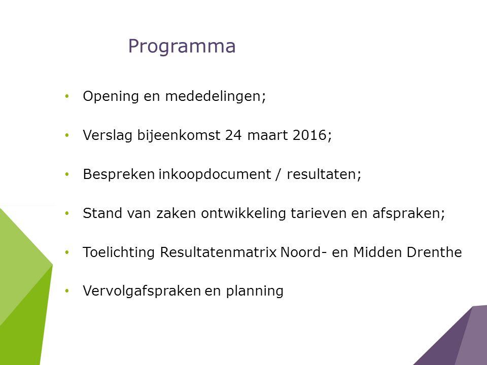 Programma Opening en mededelingen; Verslag bijeenkomst 24 maart 2016;