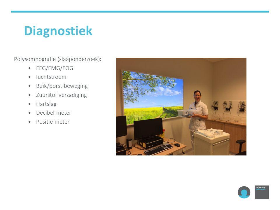 Diagnostiek Polysomnografie (slaaponderzoek): EEG/EMG/EOG luchtstroom