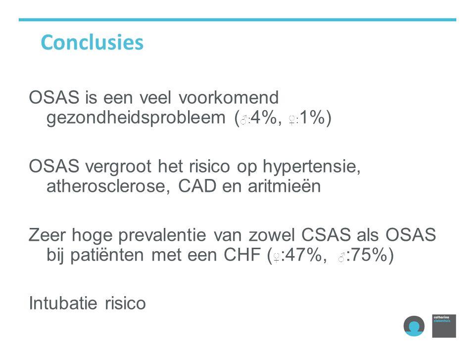 Conclusies OSAS is een veel voorkomend gezondheidsprobleem (♂:4%, ♀:1%) OSAS vergroot het risico op hypertensie, atherosclerose, CAD en aritmieën.