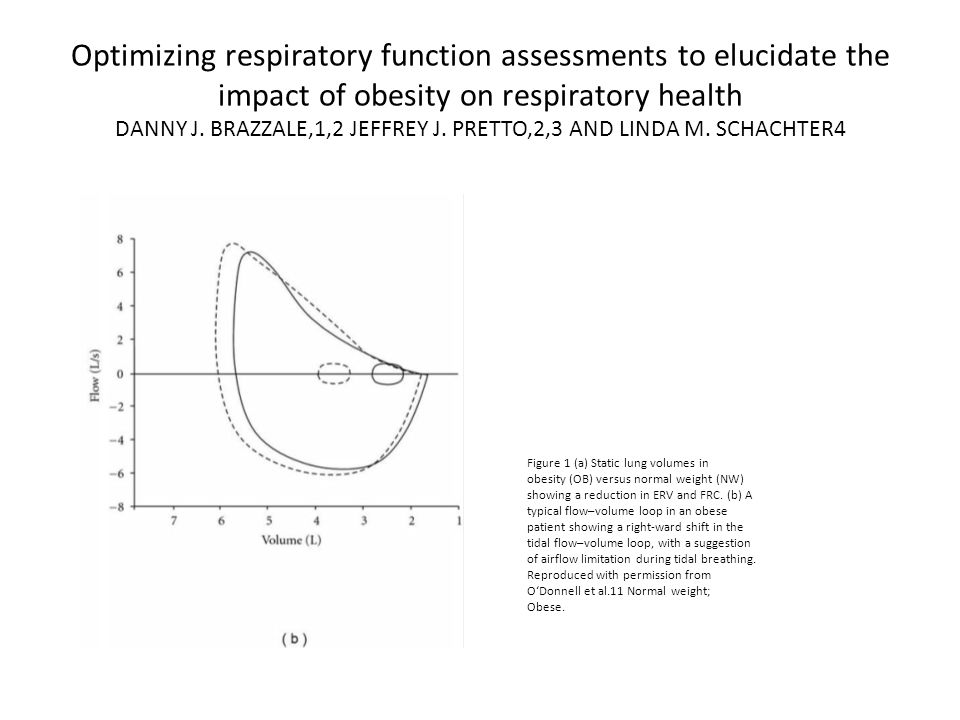 Optimizing respiratory function assessments to elucidate the impact of obesity on respiratory health DANNY J. BRAZZALE,1,2 JEFFREY J. PRETTO,2,3 AND LINDA M. SCHACHTER4