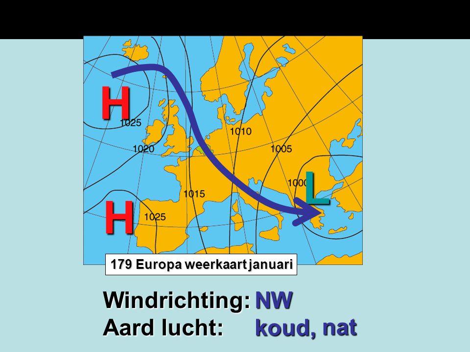 H L H Windrichting: Aard lucht: NW koud, nat