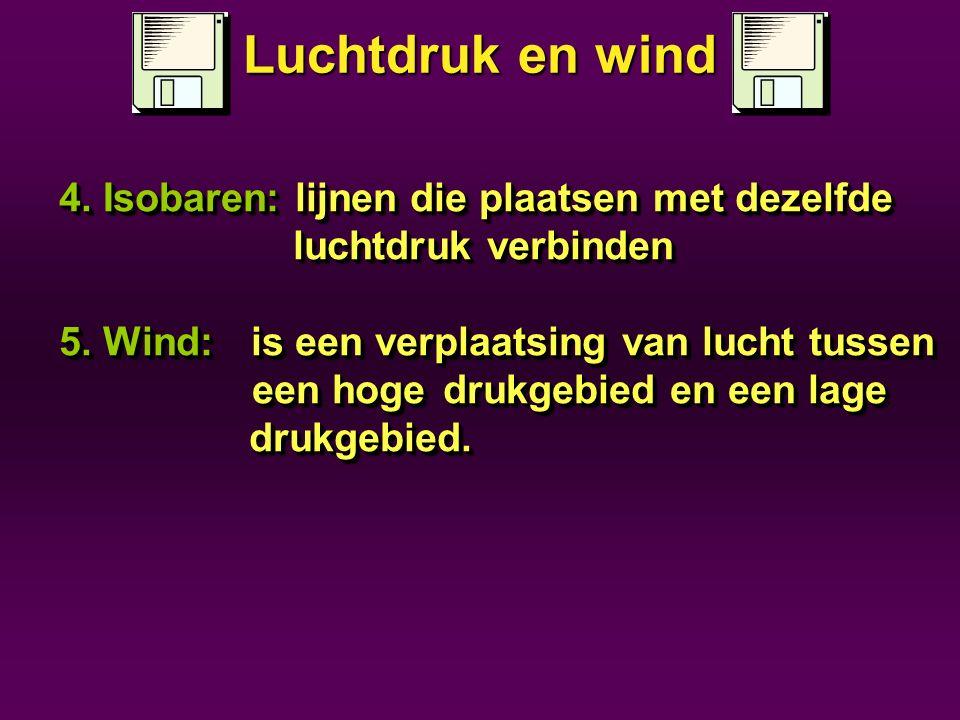 Luchtdruk en wind 4. Isobaren: lijnen die plaatsen met dezelfde