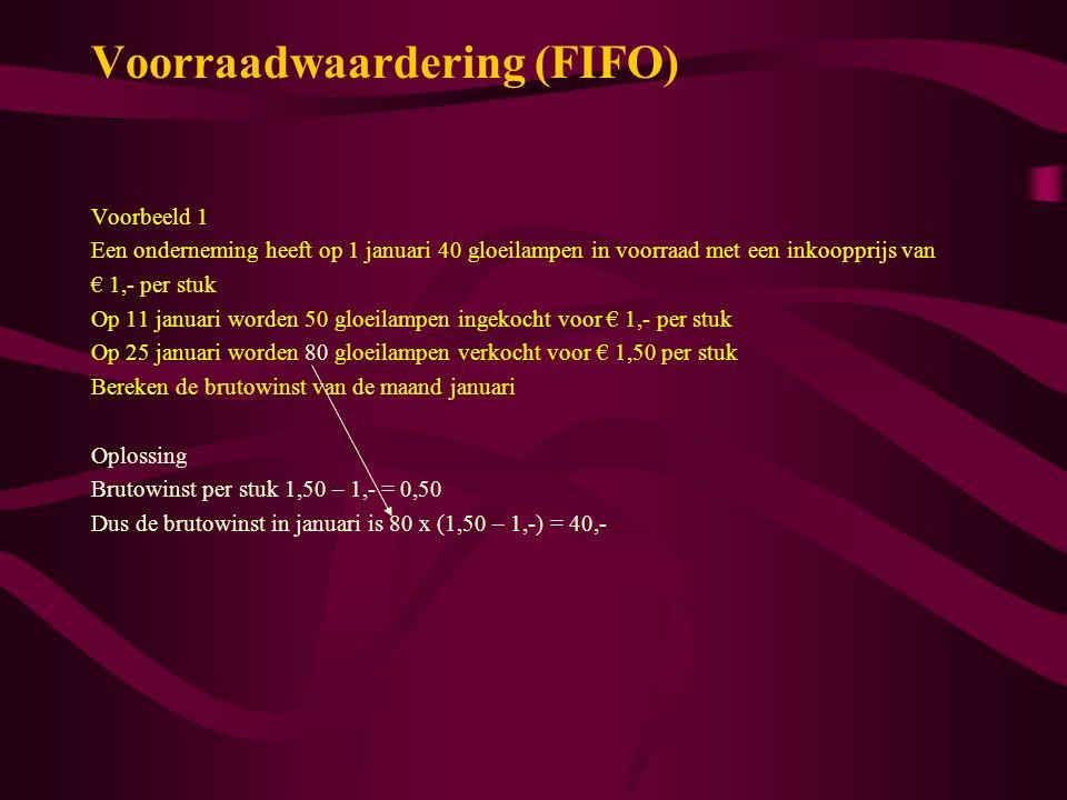 Voorraadwaardering (FIFO)