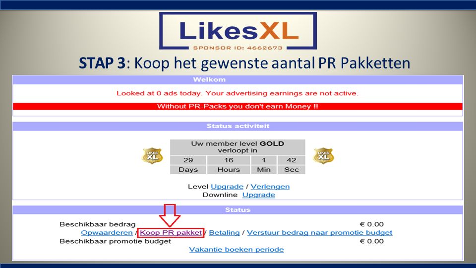 STAP 3: Koop het gewenste aantal PR Pakketten