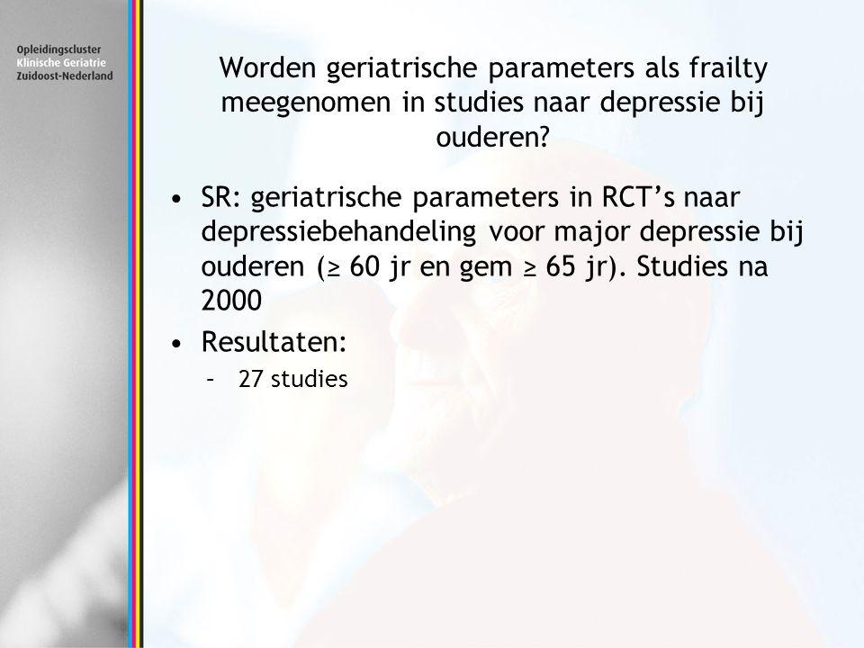 Worden geriatrische parameters als frailty meegenomen in studies naar depressie bij ouderen