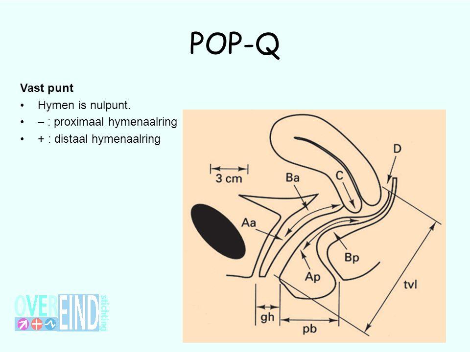 POP-Q Vast punt Hymen is nulpunt. – : proximaal hymenaalring