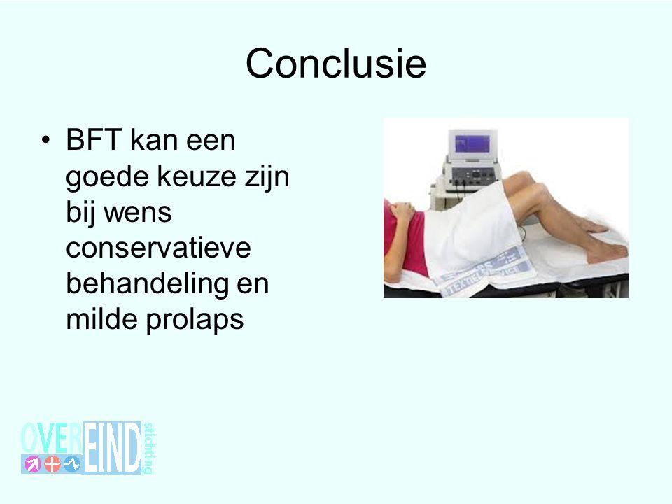 Conclusie BFT kan een goede keuze zijn bij wens conservatieve behandeling en milde prolaps