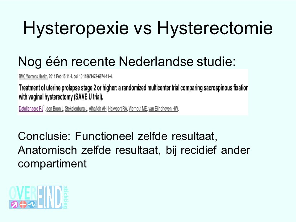 Hysteropexie vs Hysterectomie