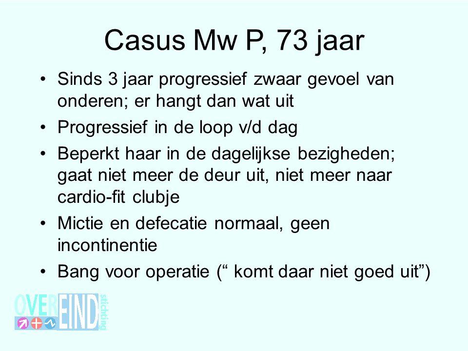 Casus Mw P, 73 jaar Sinds 3 jaar progressief zwaar gevoel van onderen; er hangt dan wat uit. Progressief in de loop v/d dag.