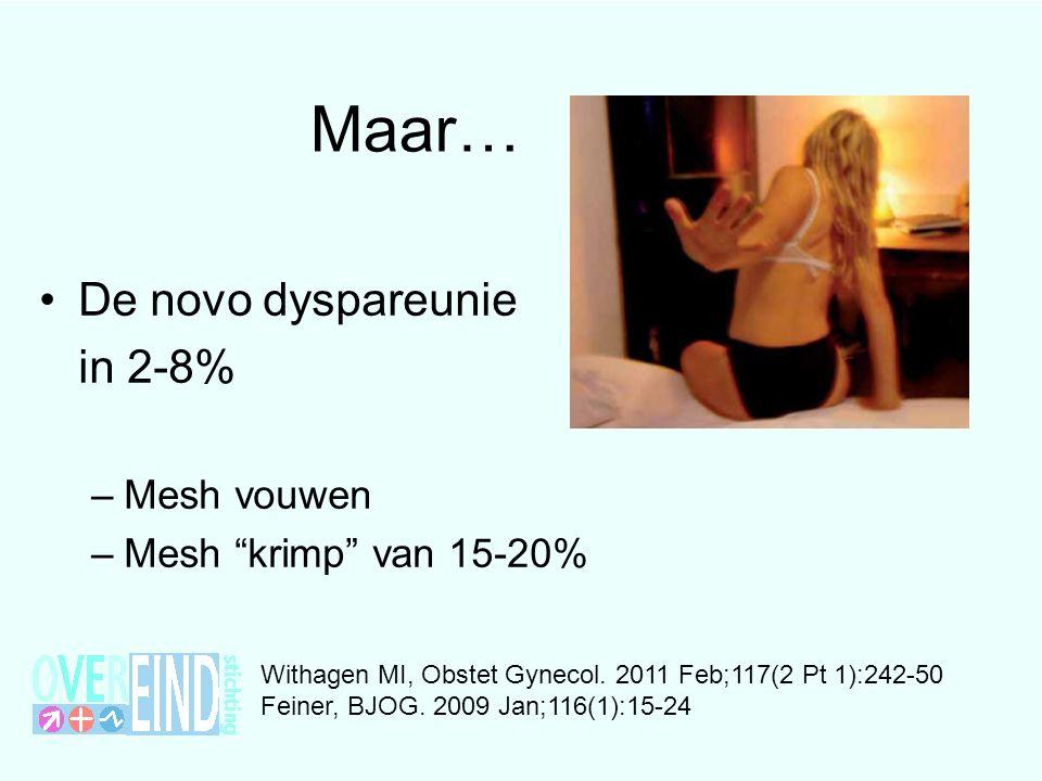 Maar… De novo dyspareunie in 2-8% Mesh vouwen Mesh krimp van 15-20%