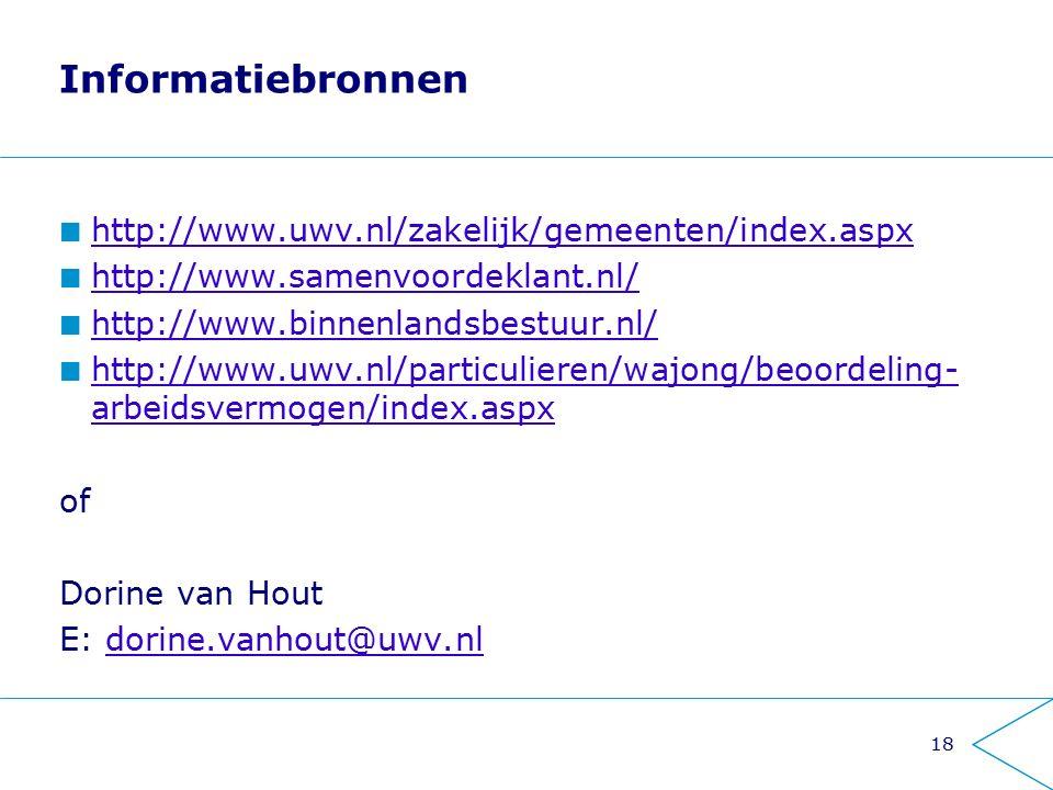 Informatiebronnen http://www.uwv.nl/zakelijk/gemeenten/index.aspx