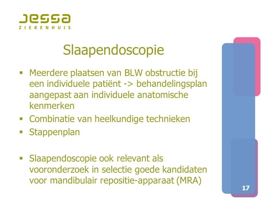 Slaapendoscopie Meerdere plaatsen van BLW obstructie bij een individuele patiënt -> behandelingsplan aangepast aan individuele anatomische kenmerken.