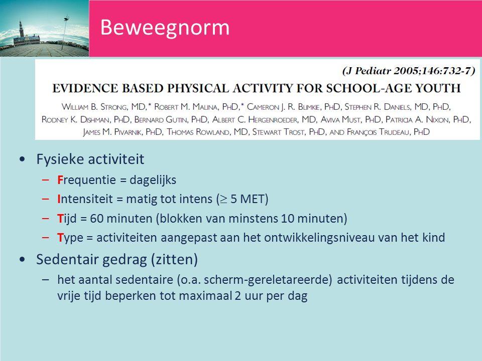 Beweegnorm Fysieke activiteit Sedentair gedrag (zitten)