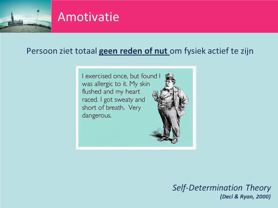 Amotivatie Persoon ziet totaal geen reden of nut om fysiek actief te zijn.