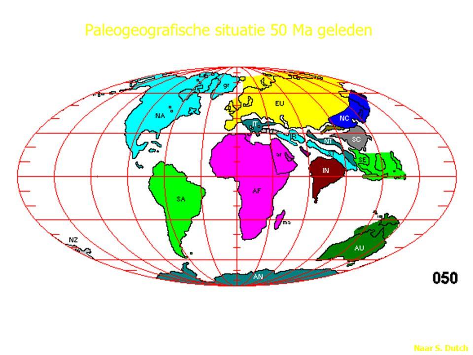 Paleogeografische situatie 50 Ma geleden