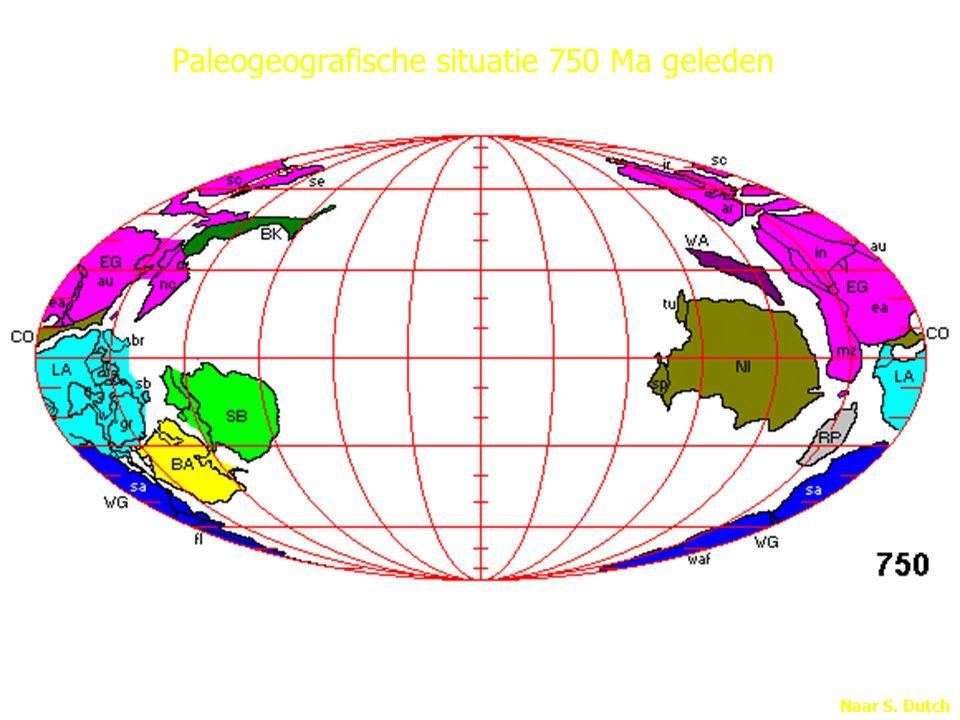 Paleogeografische situatie 750 Ma geleden