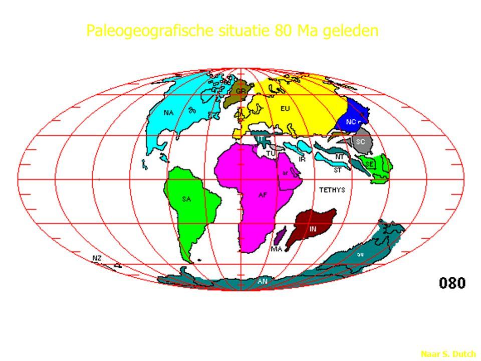 Paleogeografische situatie 80 Ma geleden