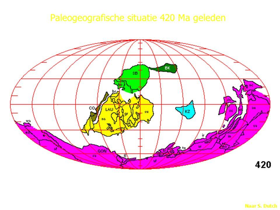 Paleogeografische situatie 420 Ma geleden