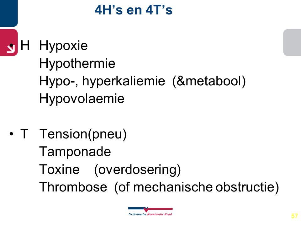 Hypo-, hyperkaliemie (&metabool) Hypovolaemie T Tension(pneu)