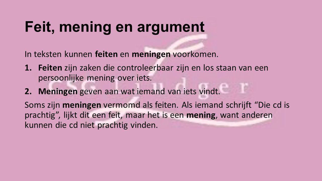 Feit, mening en argument