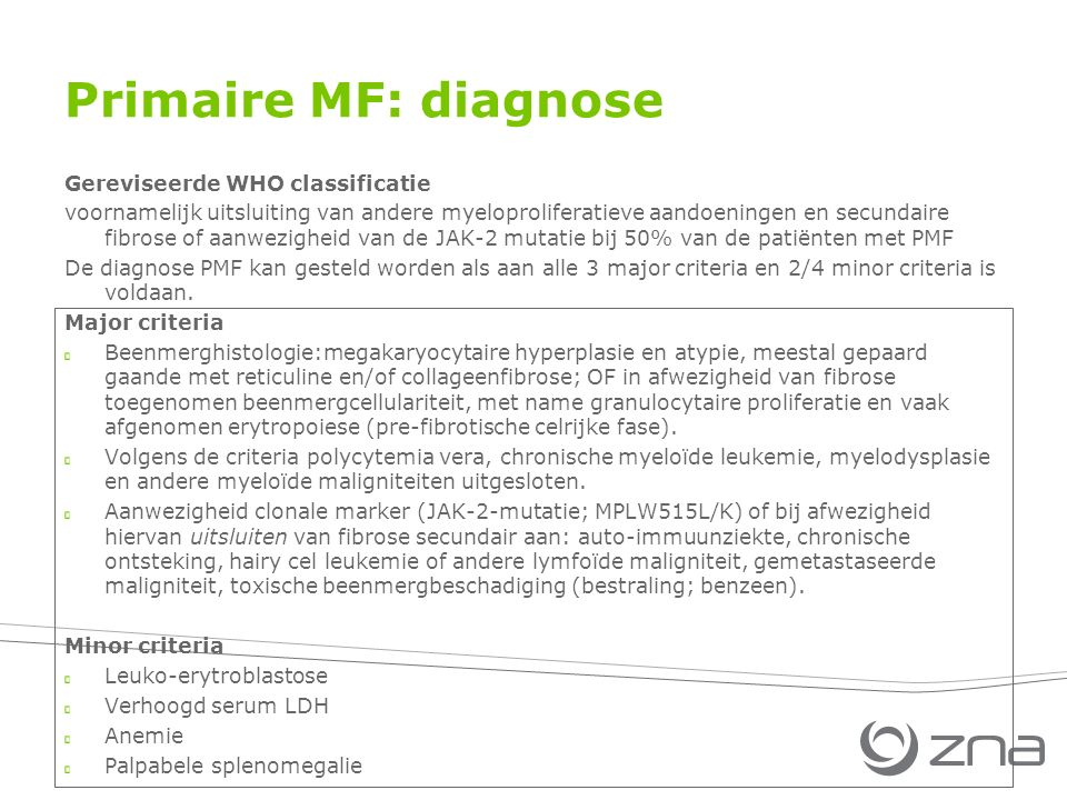Primaire MF: diagnose Gereviseerde WHO classificatie
