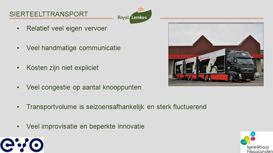 SIERTEELTTRANSPORT Relatief veel eigen vervoer. Veel handmatige communicatie. Kosten zijn niet expliciet.