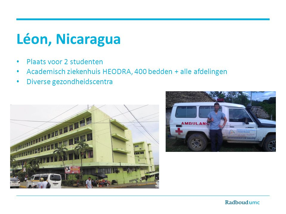 Léon, Nicaragua Plaats voor 2 studenten