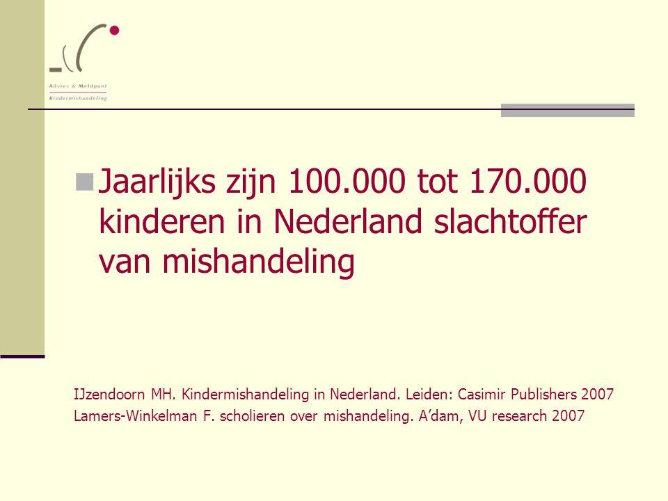 Jaarlijks zijn 100.000 tot 170.000 kinderen in Nederland slachtoffer van mishandeling