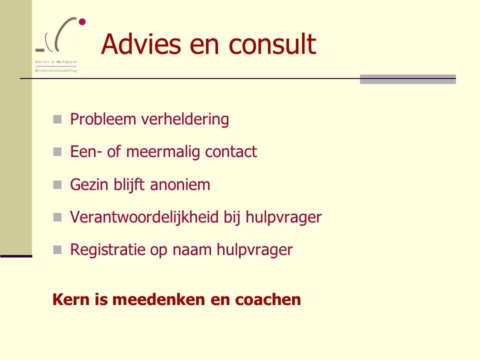 Advies en consult Probleem verheldering Een- of meermalig contact