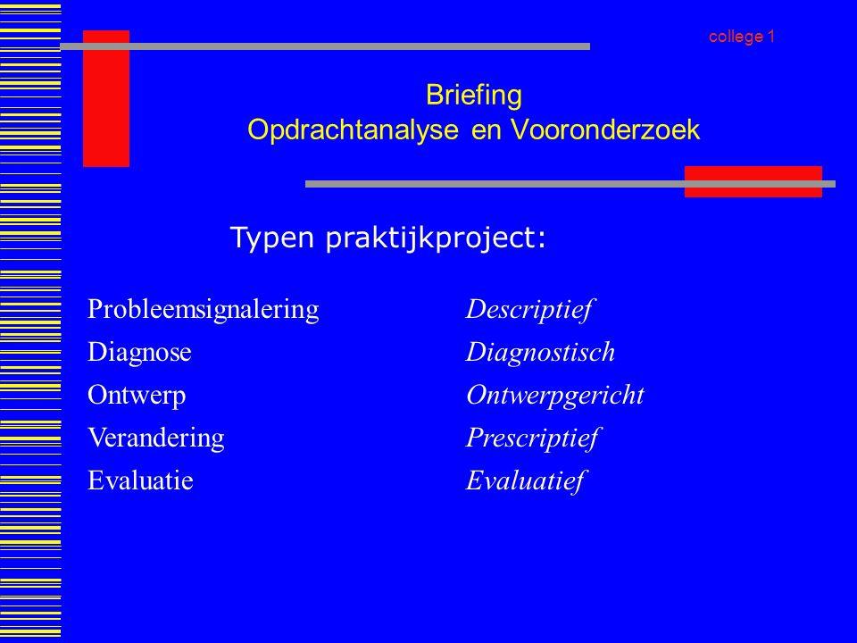 Briefing Opdrachtanalyse en Vooronderzoek