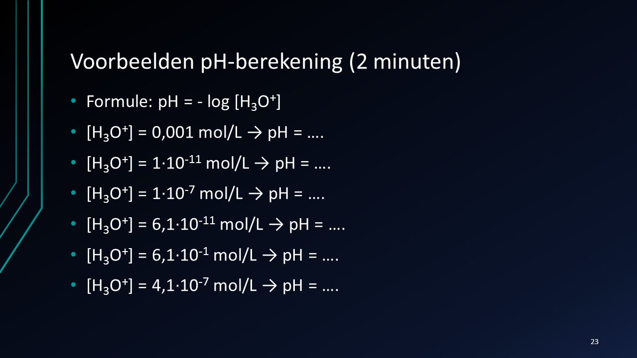 Voorbeelden pH-berekening (2 minuten)