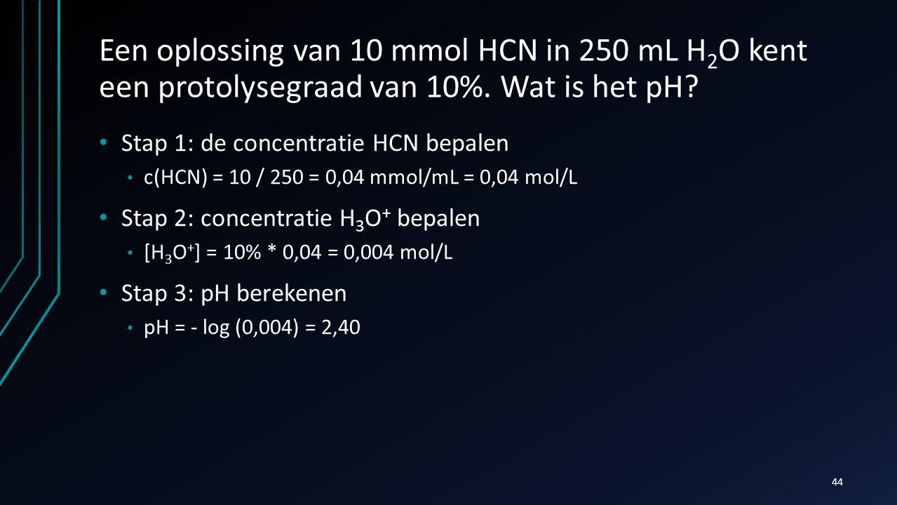 Een oplossing van 10 mmol HCN in 250 mL H2O kent een protolysegraad van 10%. Wat is het pH
