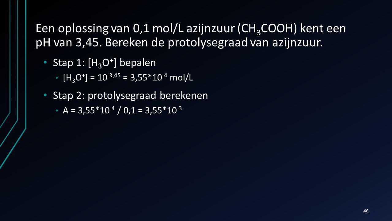Een oplossing van 0,1 mol/L azijnzuur (CH3COOH) kent een pH van 3,45