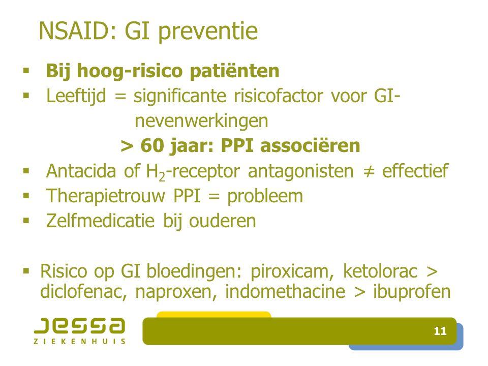 NSAID: GI preventie Bij hoog-risico patiënten