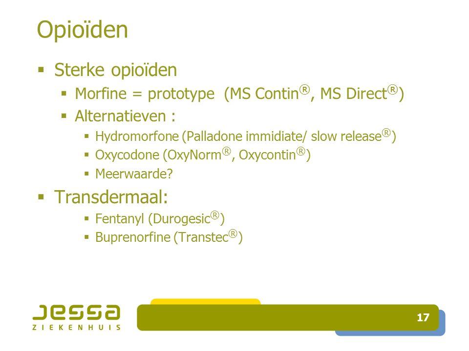 Opioïden Sterke opioïden Transdermaal: