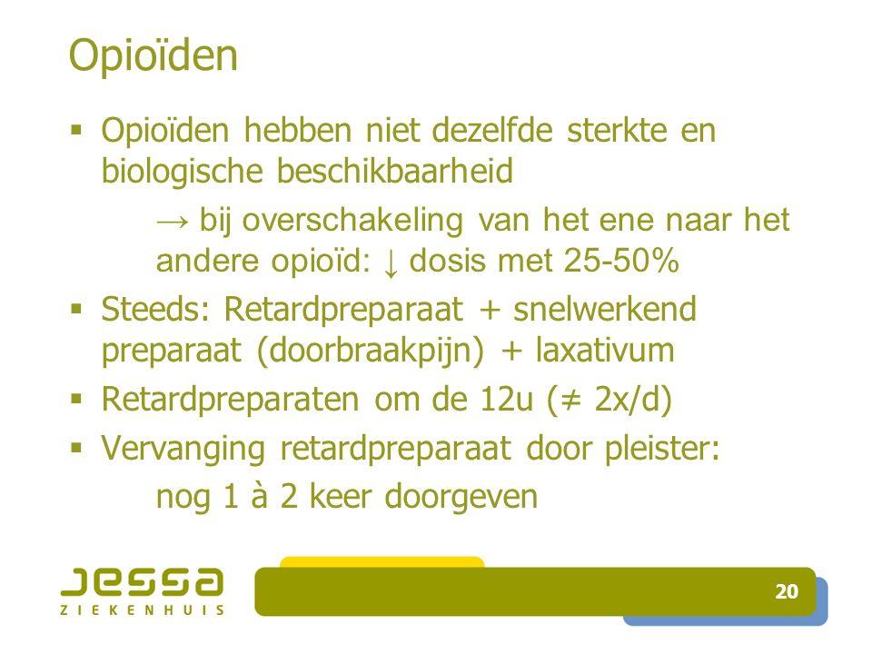 Opioïden Opioïden hebben niet dezelfde sterkte en biologische beschikbaarheid.
