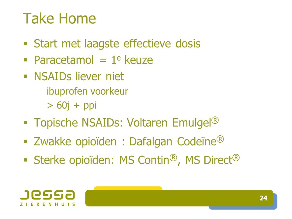 Take Home Start met laagste effectieve dosis Paracetamol = 1e keuze