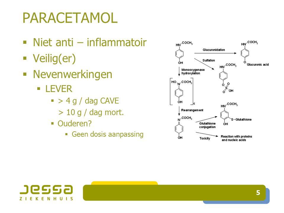 PARACETAMOL Niet anti – inflammatoir Veilig(er) Nevenwerkingen LEVER