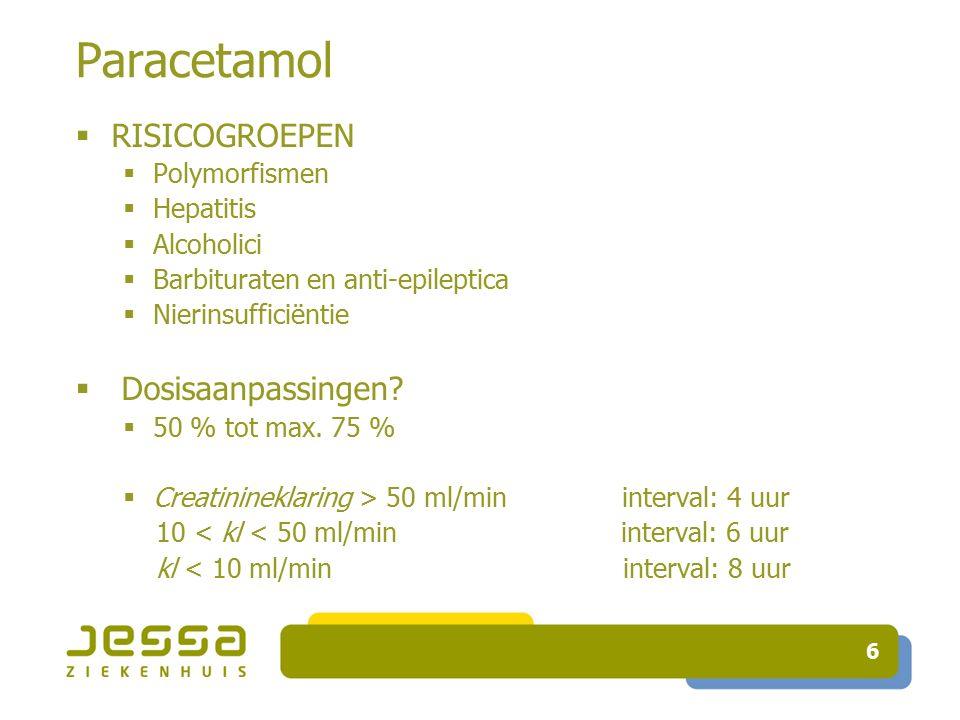 Paracetamol RISICOGROEPEN Dosisaanpassingen Polymorfismen Hepatitis