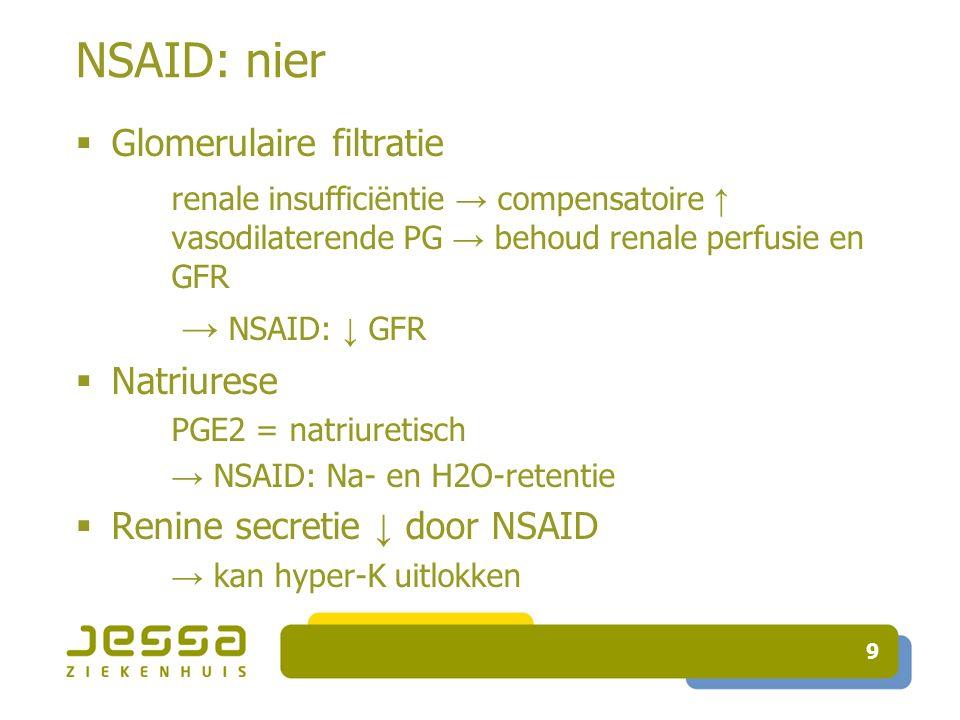 NSAID: nier Glomerulaire filtratie