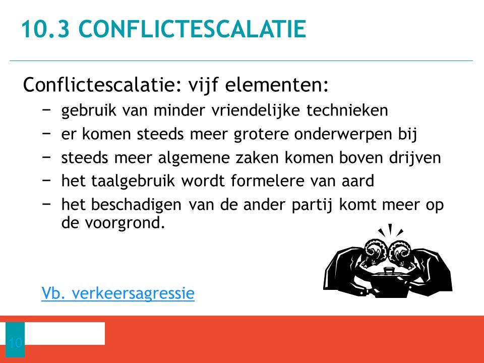 10.3 Conflictescalatie Conflictescalatie: vijf elementen: