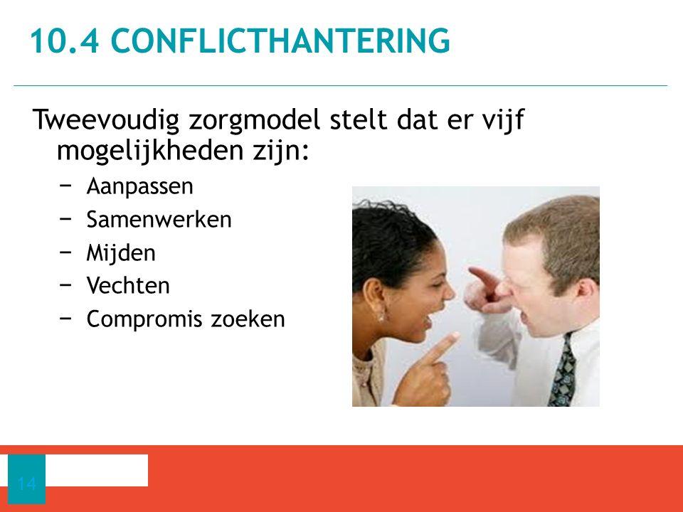 10.4 conflictHantering Tweevoudig zorgmodel stelt dat er vijf mogelijkheden zijn: Aanpassen. Samenwerken.