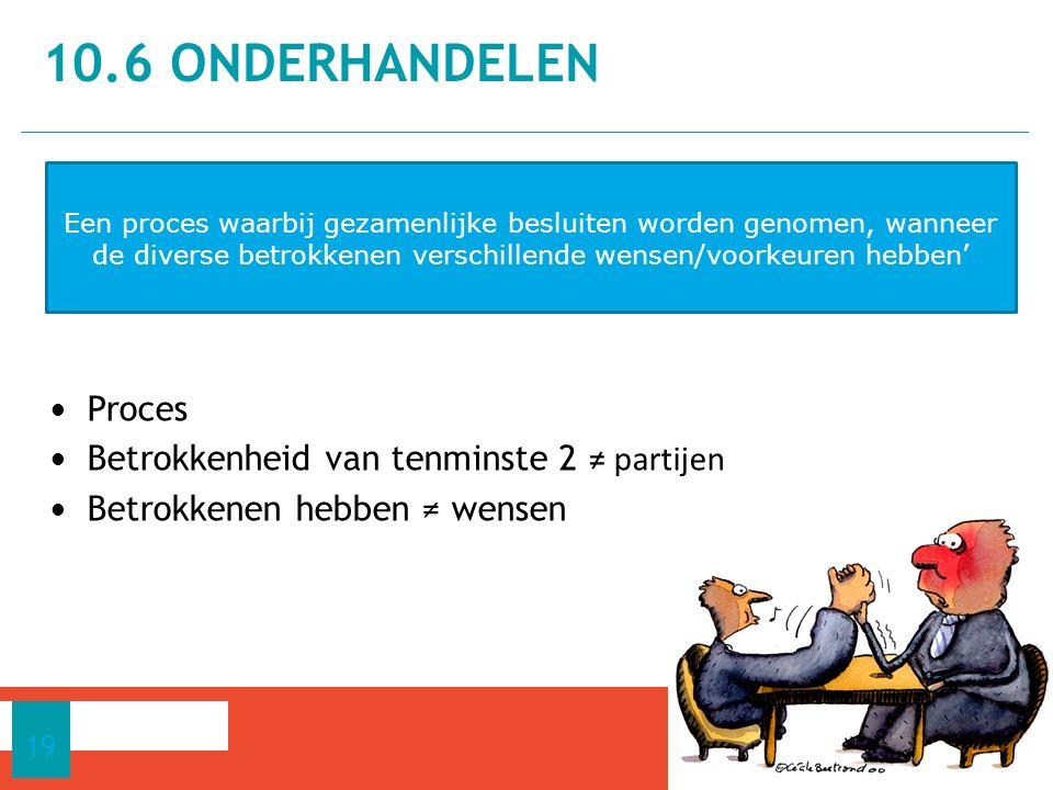 10.6 Onderhandelen Proces Betrokkenheid van tenminste 2 ≠ partijen