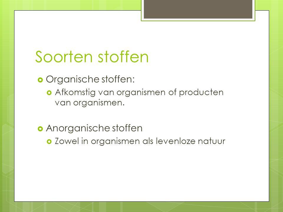 Soorten stoffen Organische stoffen: Anorganische stoffen
