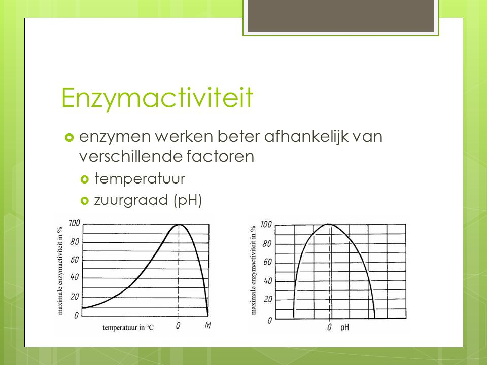 Enzymactiviteit enzymen werken beter afhankelijk van verschillende factoren.