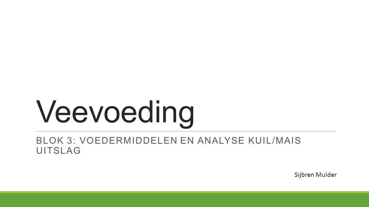 Blok 3: Voedermiddelen en analyse kuil/mais uitslag