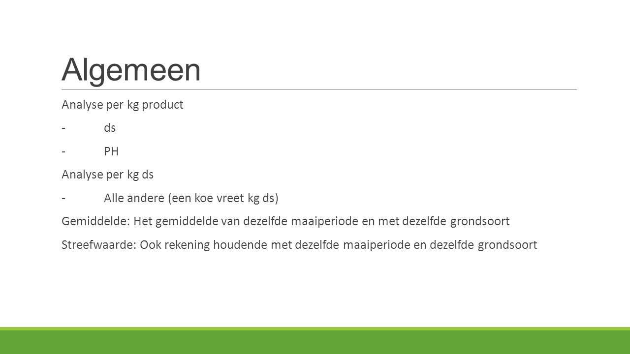 Algemeen Analyse per kg product - ds - PH Analyse per kg ds