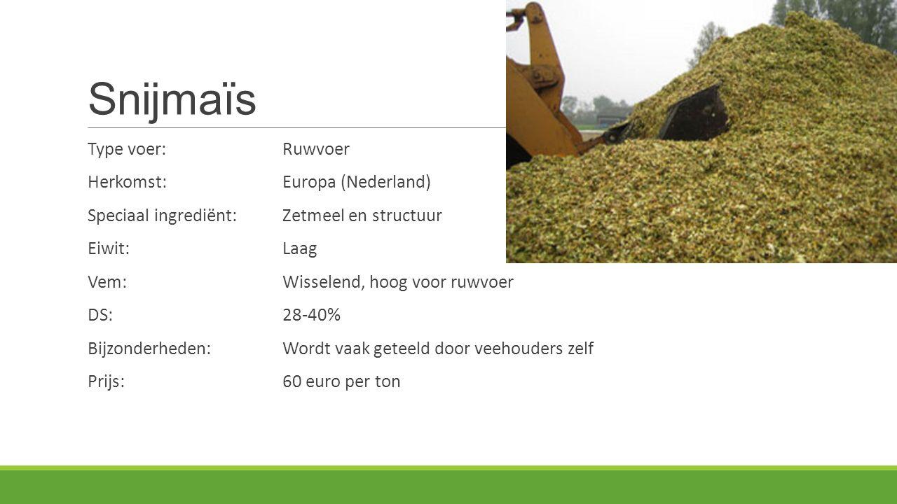 Snijmaïs Type voer: Ruwvoer Herkomst: Europa (Nederland)