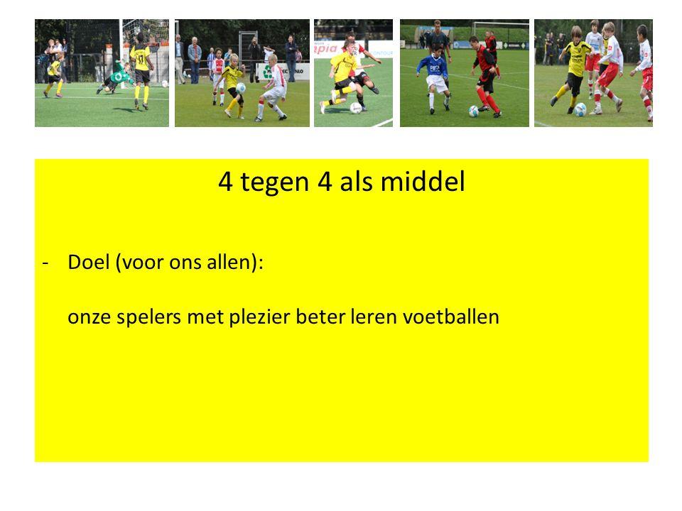 4 tegen 4 als middel Doel (voor ons allen): onze spelers met plezier beter leren voetballen